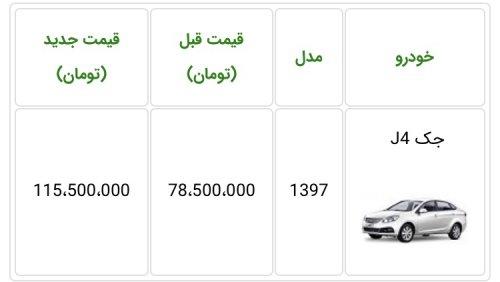 افزایش مجدد قیمت جک J4 توسط کرمان موتور اعلام شد